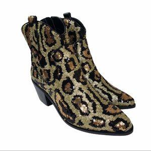 Betsey Johnson Lucki Sequin Leopard Boots   NIB
